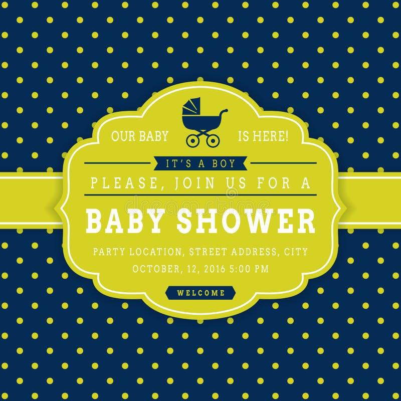 Jungenbabyparty Prelambulator auf gestreiftem Hintergrund lizenzfreie abbildung