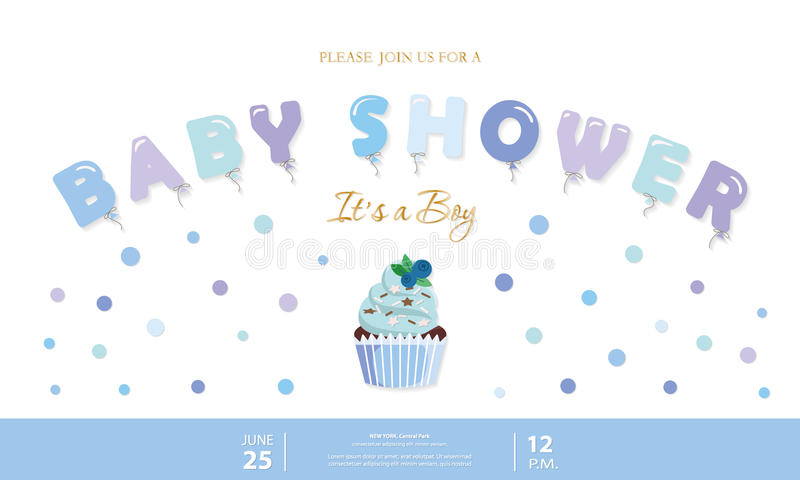 Jungenbabypartyschablone Parteieinladungskarte mit Ballonbuchstaben, -kleinem Kuchen und -Konfettis Pastellblau und Gold vektor abbildung