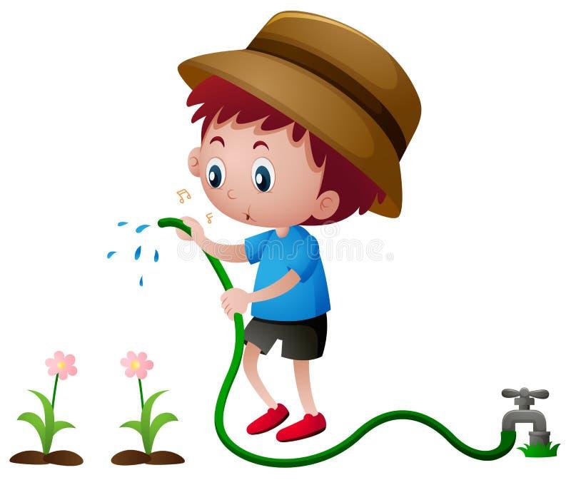 Jungenbewässerungsanlagen mit Schlauch vektor abbildung