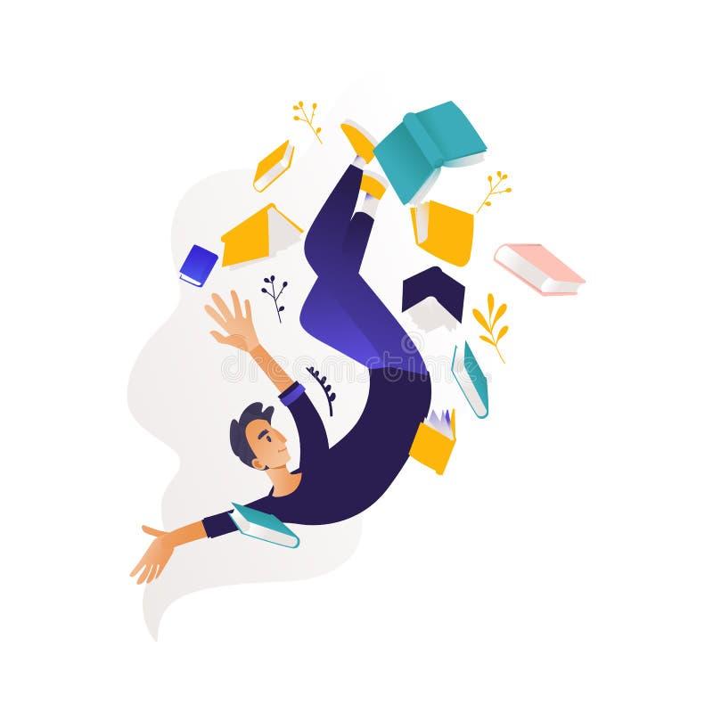 Jungenfliegen umgeben durch Bücher und Notizblöcke vektor abbildung