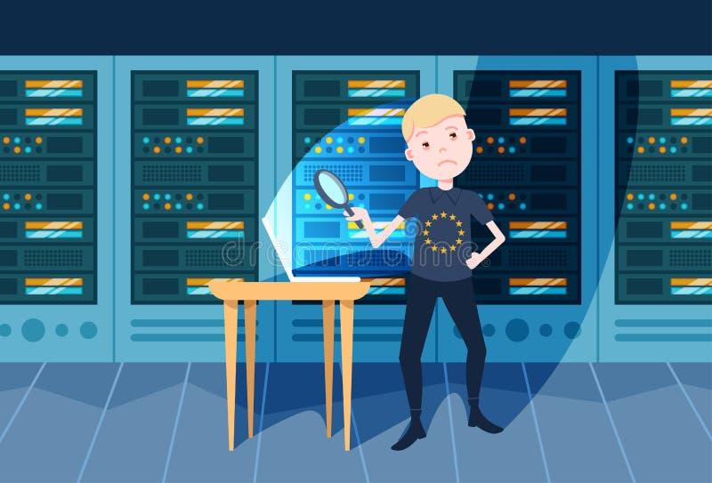 Jungenhandgriff-Zoomlaptop auf der Tabellennachtsicherheit und Schutz vorgeschriebenem GDPR Konzept des allgemeine Daten-Schutzes vektor abbildung