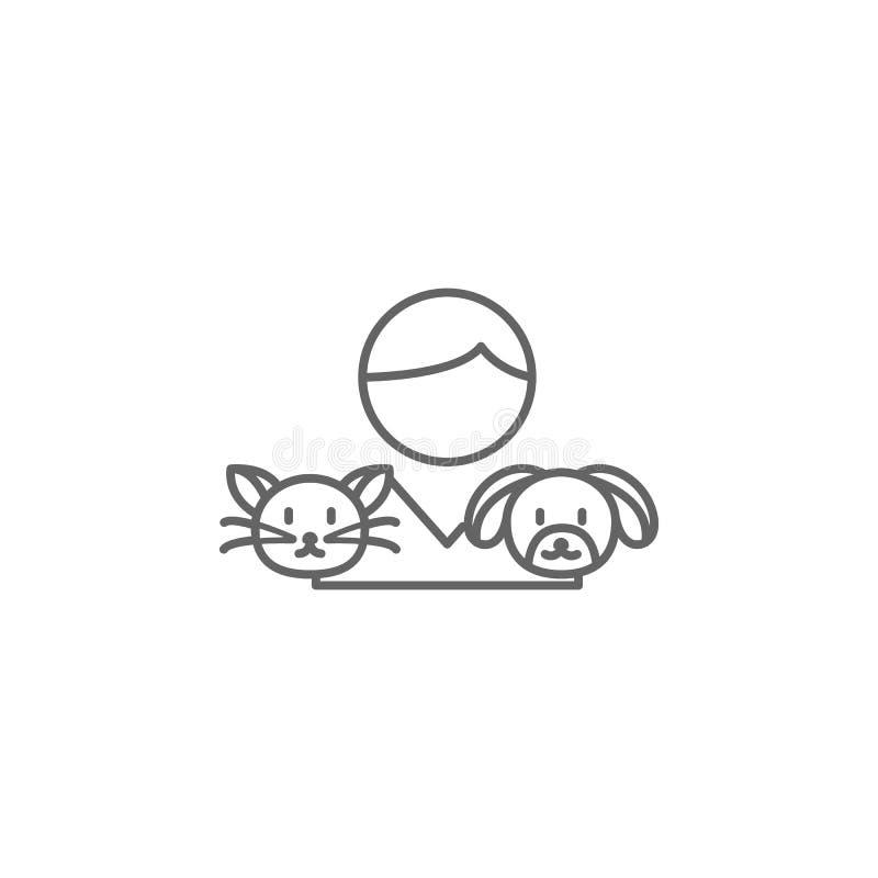 Jungenhaustierfreundschafts-Entwurfsikone Elemente der Freundschaftslinie Ikone Zeichen, Symbole und Vektoren können für Netz, Lo stock abbildung