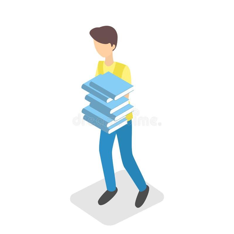 Jungenholdingstapel Schulbücher stock abbildung
