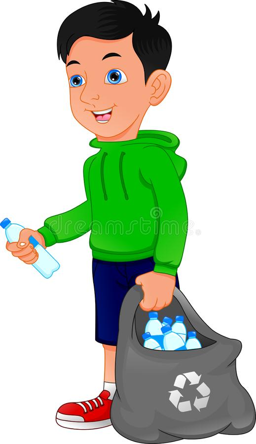 Jungenholdingtasche von Plastikflaschen, Abfallwiederverwertung lizenzfreie abbildung