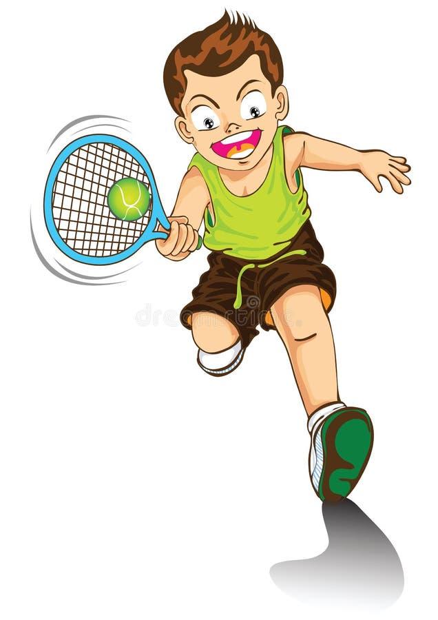 Jungenkarikatur, die Tennis spielt lizenzfreie abbildung