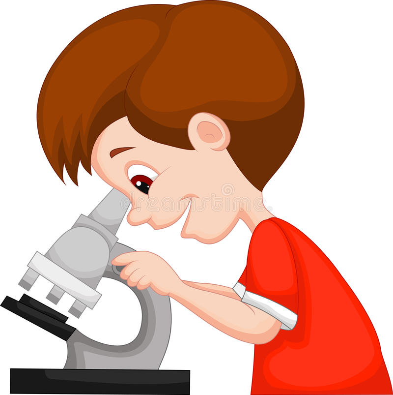 Jungenkarikatur unter Verwendung des Mikroskops vektor abbildung