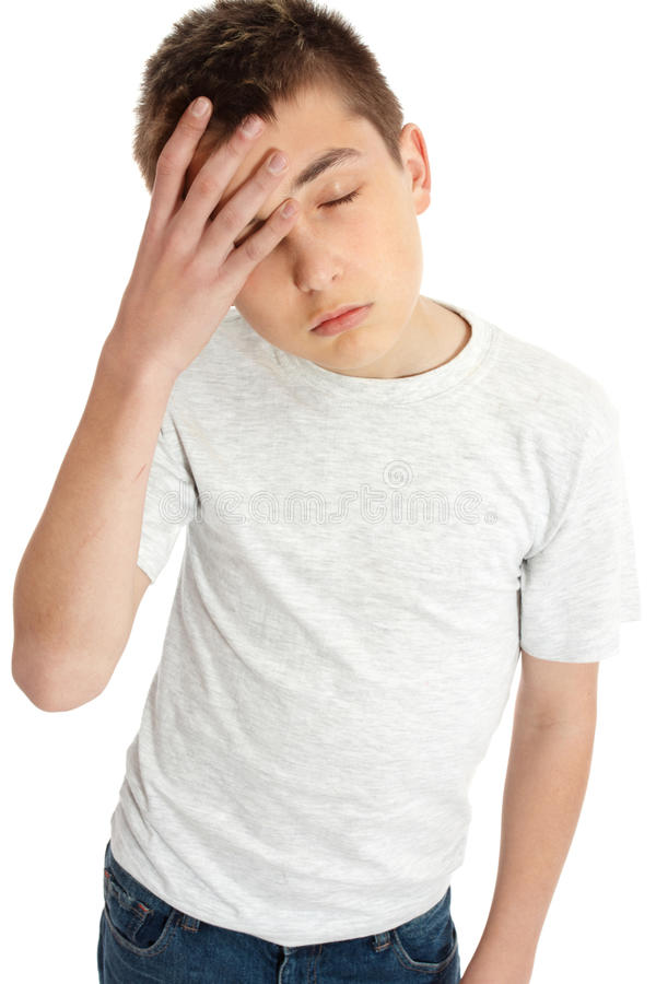 Jungenkind, Kopfschmerzen, ermüdete, träge lizenzfreies stockbild