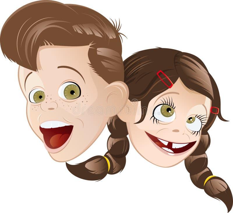 Jungenmädchenkarikaturen lizenzfreie abbildung