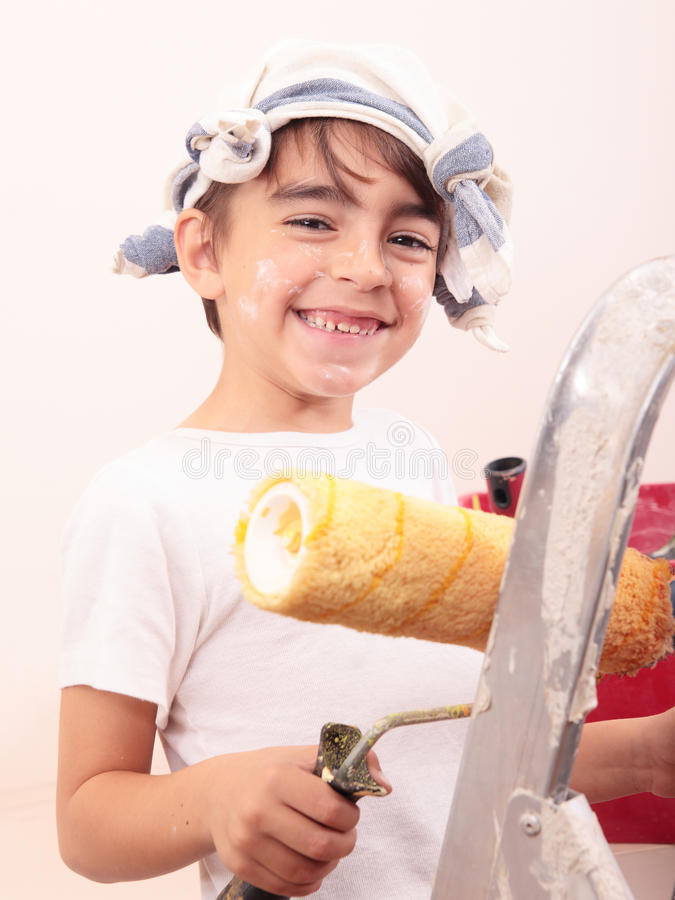 Jungenmalerei stockbilder