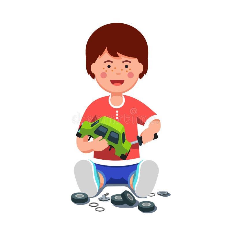 Jungenmechaniker, der Spielzeugauto unter Verwendung des Schraubenziehers repariert vektor abbildung