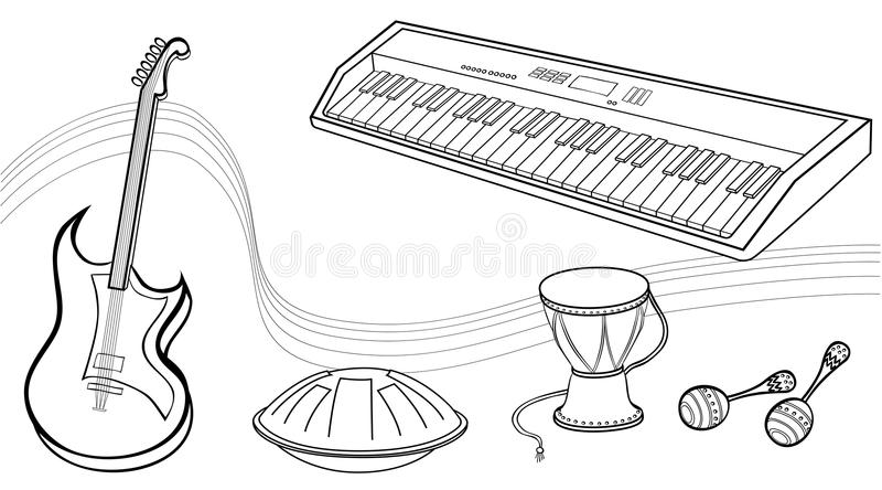 musik anmerkungen linien musikinstrumente vektor