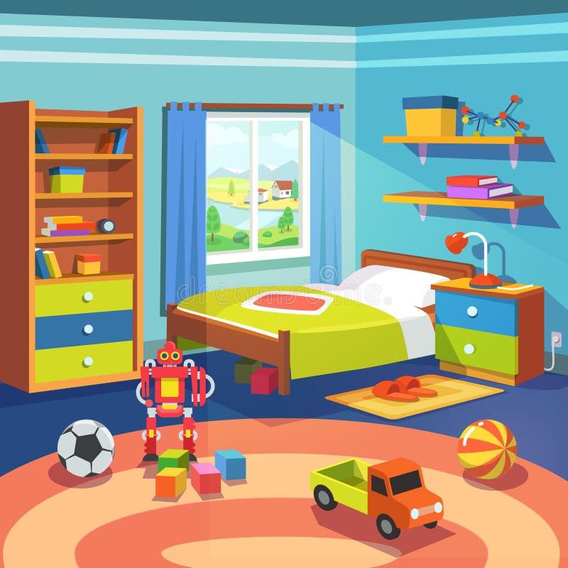 Jungenraum mit Bett, Schrank und Spielwaren auf dem Boden stock abbildung