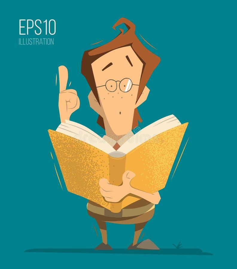 Jungenschülerschulkindschülerholding und -lesung ein Buch lizenzfreie abbildung