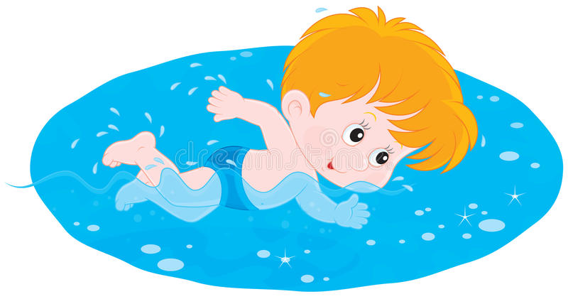 Jungenschwimmen stock abbildung