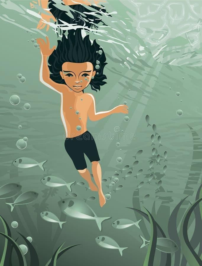 Jungenschwimmen unter Wasser im Vektor lizenzfreie abbildung