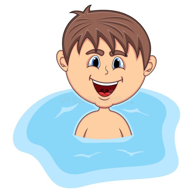 Jungenschwimmenkarikatur vektor abbildung