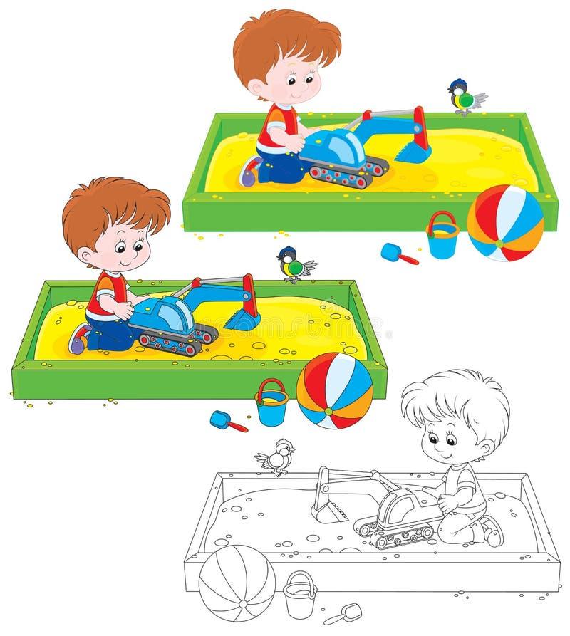 Jungenspiel in einem Sandkasten stock abbildung