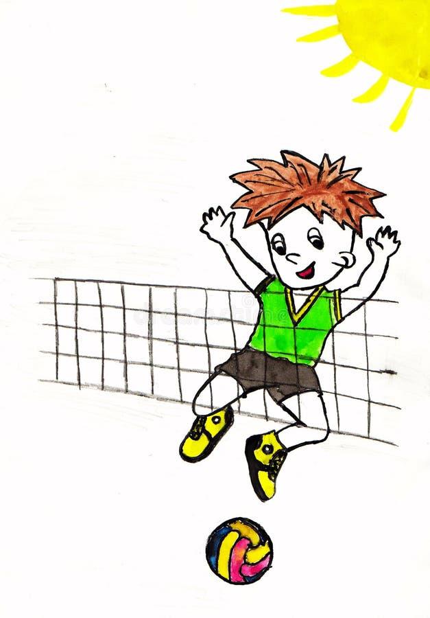 Jungenspiele in volleybal lizenzfreie stockbilder