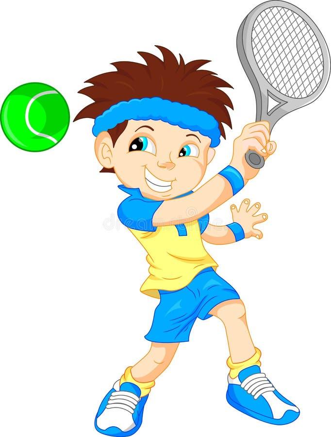 Jungentennisspielerkarikatur lizenzfreie abbildung