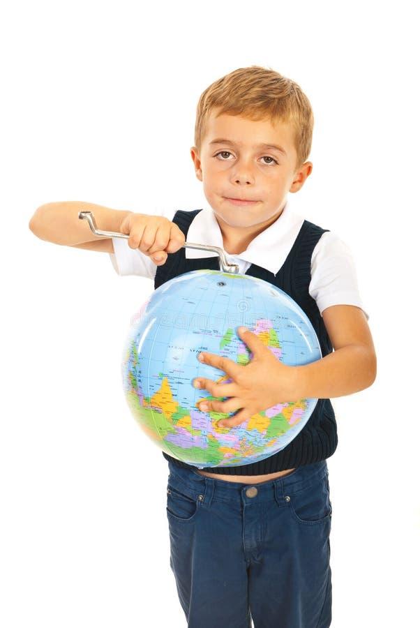Jungenverlegenheit die Welt stockfotos
