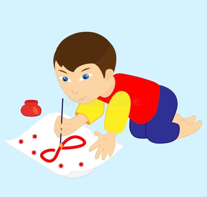 JungenZugnummer am 8. März, Kinderkünstlermalerei lizenzfreie abbildung
