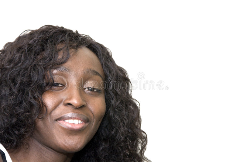 Junger Afroamerikaner-weibliches Lächeln lizenzfreies stockfoto