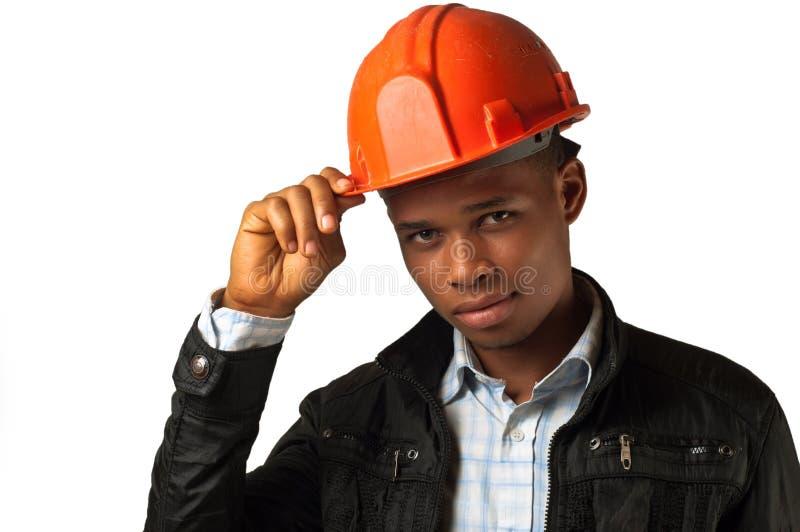 Junger Architektenvorarbeiter des Afroamerikaners stockfotos