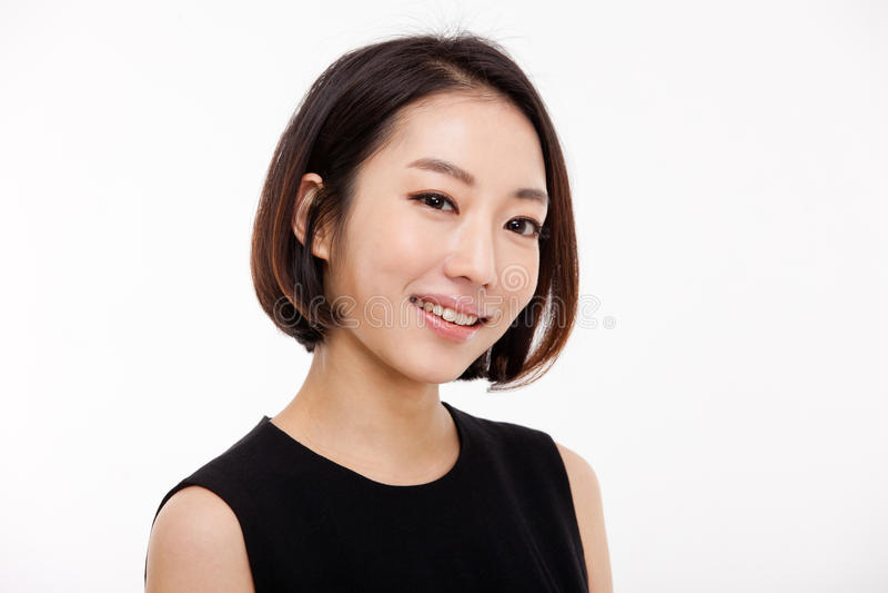 Junger asiatischer hübscher Geschäftsfrauabschluß herauf Porträt. stockbild