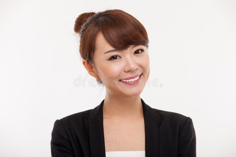 Junger asiatischer hübscher Geschäftsfrauabschluß herauf portrai lizenzfreies stockbild