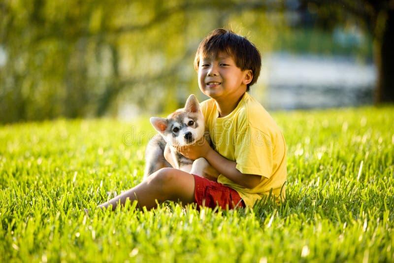 Junger asiatischer Junge, der den Welpen sitzt auf Gras umarmt stockbild