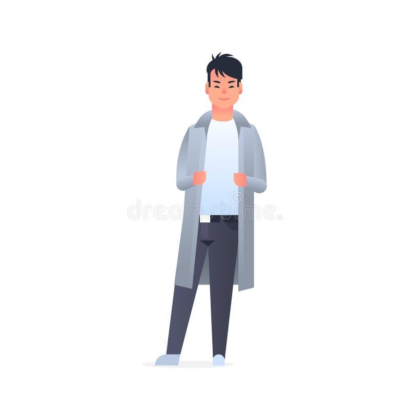 Junger asiatischer Kerl, der Mannstellungs-Haltungschinesen der zufälligen Kleidung glücklichen attraktiven oder japanische mä stock abbildung