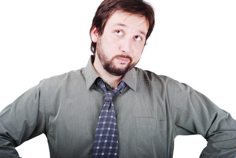 Junger attraktiver Mann mit dem braunen Haar getrennt lizenzfreies stockfoto