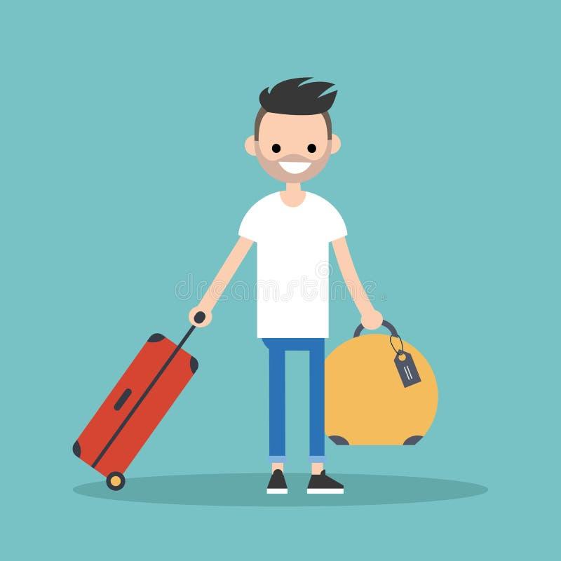 Junger bärtiger Mann, der mit seinem Gepäck reist vektor abbildung