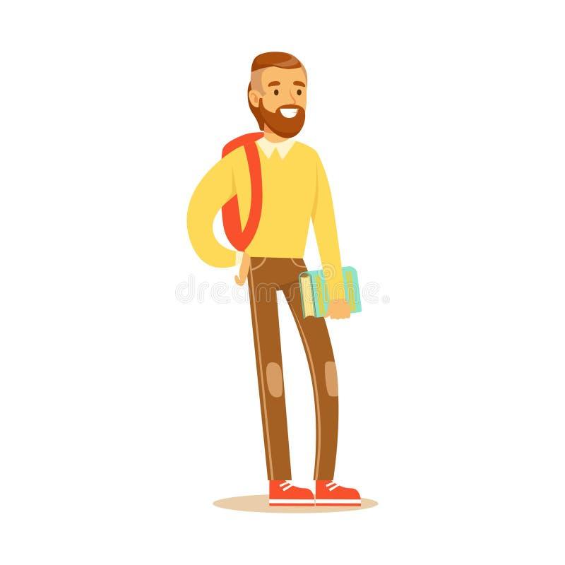 Junger bärtiger Mann in der zufälligen Kleidung mit dem Rucksack, der Buch in seiner Hand steht und hält Studentenlebensstil bunt vektor abbildung