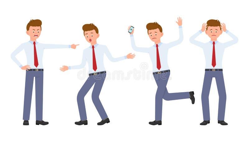Junger Büroangestellter in der formellen Kleidung schreiend, den Finger zeigend, überrascht, gestört, entsetzt lizenzfreie abbildung