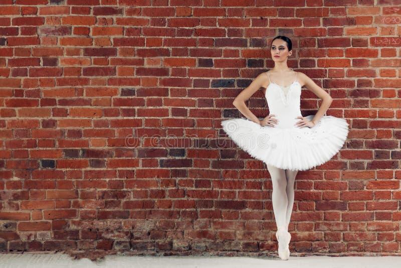 Junger Balletttänzer, der rosa Stellung mit den Händen auf der Hüfte im Tanzstudio trägt lizenzfreie stockfotografie