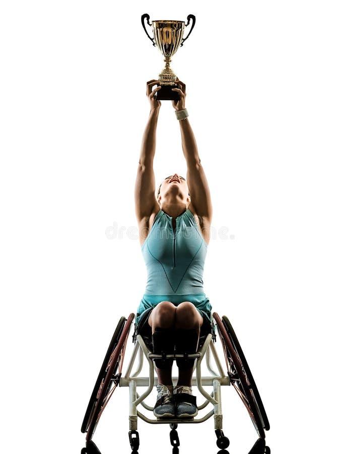 Junger behinderter Tennisspieler-Frau welchair Sport lokalisierte Si lizenzfreies stockbild
