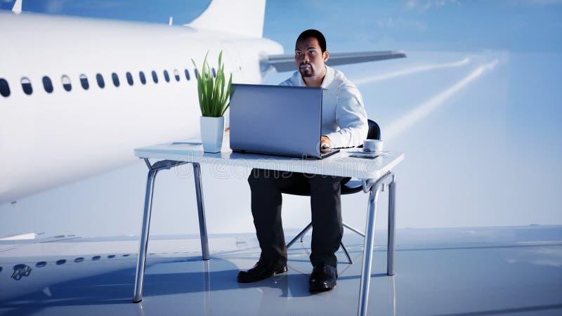 Junger beschäftigter Geschäftsmann, der an dem Fliegenflugzeug arbeitet Afrikanisches männliches Untersuchung den Schirm des Lapt vektor abbildung