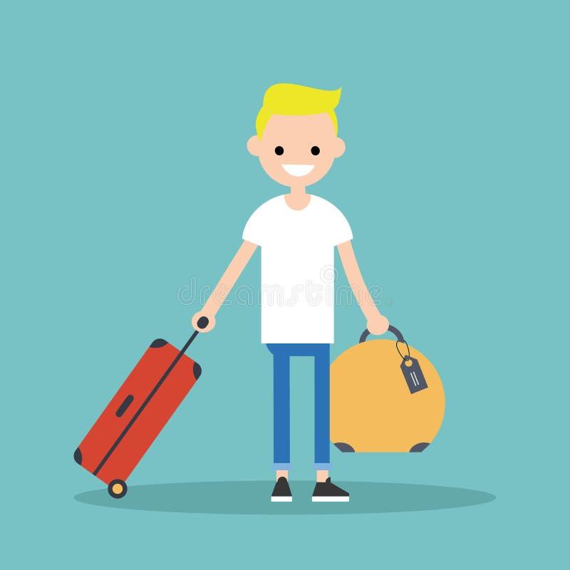 Junger blonder Junge, der mit seinem Gepäck reist lizenzfreie abbildung