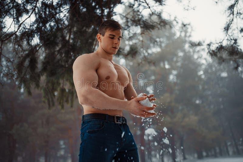 Junger Bodybuilder mit dem bloßen Torso wischt seinen Körper durch Schnee im Wald im Winter ab stockfoto