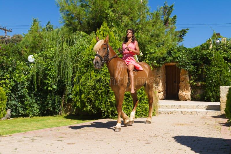 Junger Brunette mit dem roten Kleid, das ihr Braun reitet stockfoto