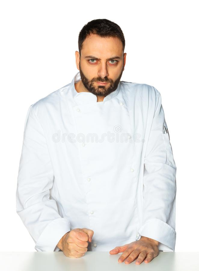 Junger Chef auf weißem Hintergrund lizenzfreies stockbild