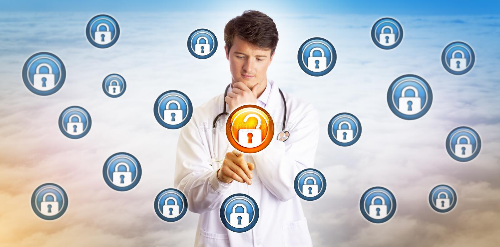 Junger Doktor Unlocking Data File im Cyberspace stockbild