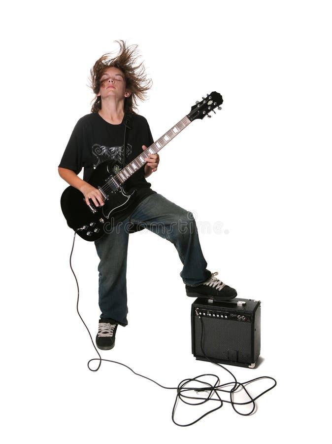 Junger elektrische Gitarren-Spieler lizenzfreies stockbild