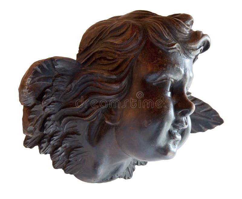 Junger Engel in der Skulptur im Holz stockfoto