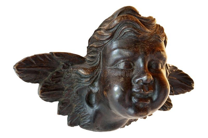 Junger Engel in der Skulptur im Holz lizenzfreie stockbilder