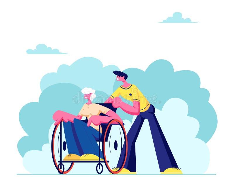 Junger Enkel verbringen Zeit mit behindertem Großmutter-Freien Sozialarbeiter-Sorgfalt der kranken älteren Frau, die im Rollstuhl lizenzfreie abbildung