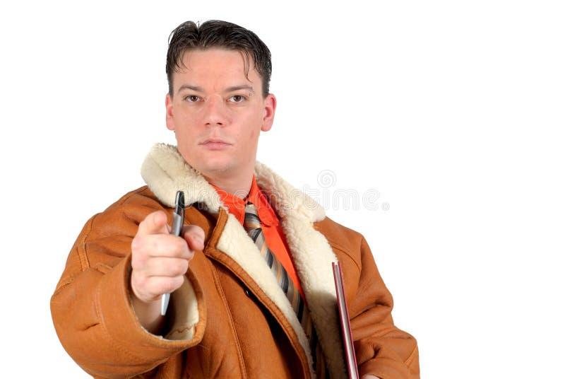 Junger entschlossener Geschäftsmann, der auf Sie zeigt stockfoto