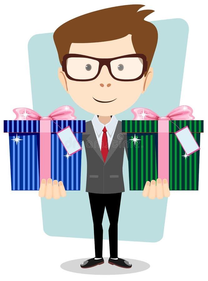Junger erfolgreicher Geschäftsmann gibt zwei Geschenke lizenzfreie abbildung