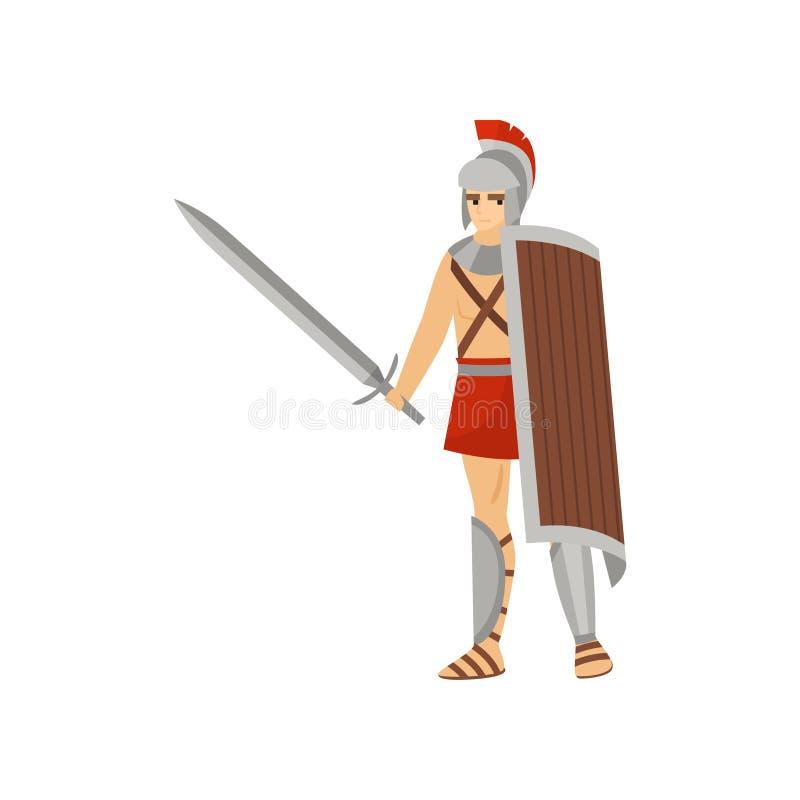 Junger ernster römischer Krieger mit Klinge in einer Hand und in den Schildern in anderen Ständen lokalisiert auf weißem Hintergr stock abbildung